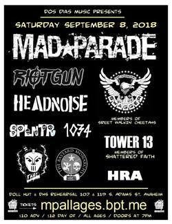 Mad Parade / Headnoise gig flyer